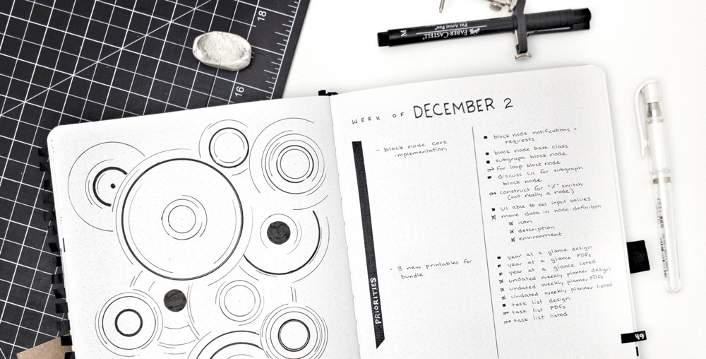 Geometric bullet journal layout with circles by pacificnotation